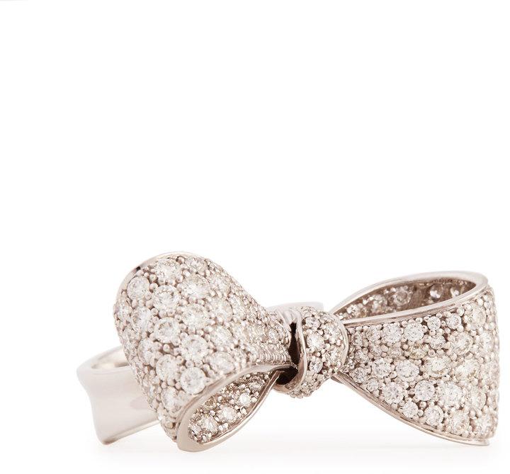 Mimi So Bow Mid Size 18k White Gold Diamond Ring