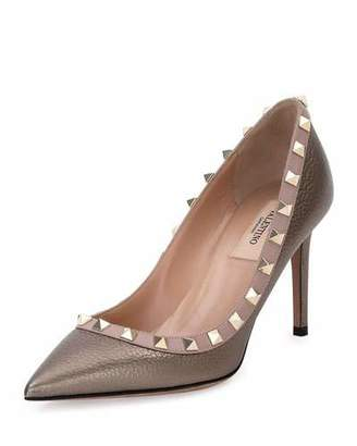 Valentino Rockstud Leather 85mm Pumps, Sasso/Poudre