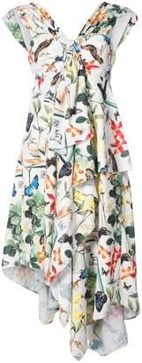 Nicole Miller asymmetric ruffle dress