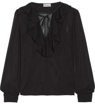 RED Valentino Ruffled Stretch-silk Chiffon Blouse - Black