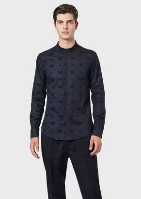 Emporio Armani Stretch Poplin Shirt With Guru Collar And Eagle Flock Print