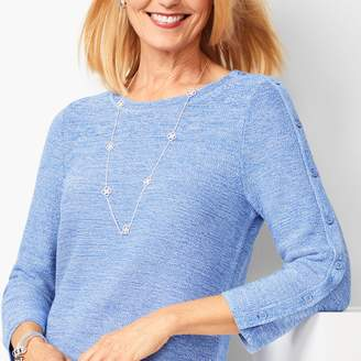 Talbots Button-Sleeve Sweater - Marled