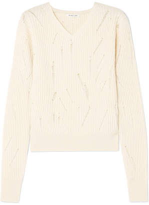 Helmut Lang Distressed Ribbed Wool Sweater - Ivory