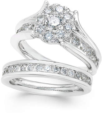 Macy's Diamond Cluster and Channel-Set Bridal Set (2 ct. t.w.) in 14k White Gold