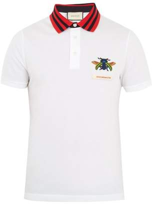 Gucci Beetle Applique Cotton Pique Polo Shirt - Mens - White Multi