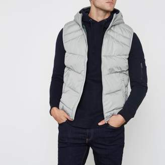 River Island Jack and Jones grey hooded puffer vest