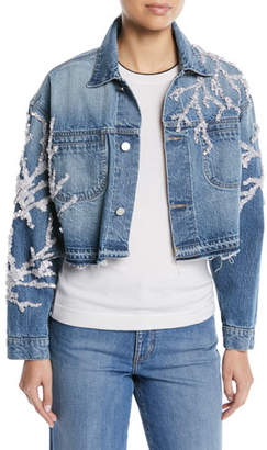 Oscar de la Renta Button-Down Cropped Beaded Coral Denim Jacket