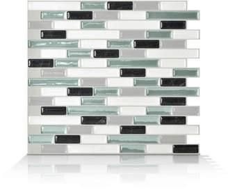 Smart Tiles Mosaik Muretto Prairie 10.20 x 9.10 Peel & Stick Wall Tile in Charcoal, White & Green/Blue
