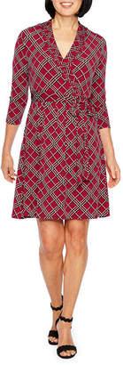 Liz Claiborne 3/4 Sleeve Geometric Wrap Dress