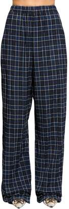 Balenciaga Plaid Cotton Flannel Palazzo Pants