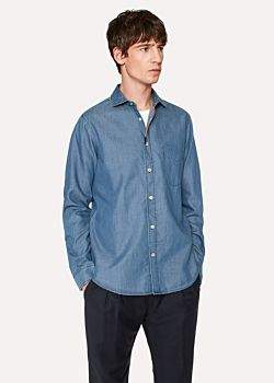 Paul Smith Men's Tailored-Fit Blue Cotton Chambray Shirt With Coloured Detailing