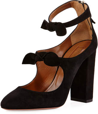 Aquazzura Sandy Suede Block-Heel Bow Pump, Black