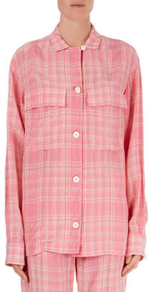 Victoria Beckham Plaid Oversized Flap-Pocket Blouse