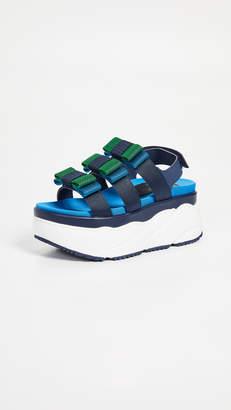 SUECOMMA BONNIE Colorblock Ribbon Platform Sandals
