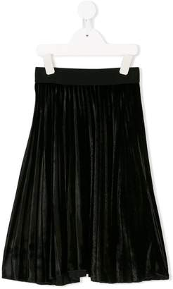 MonnaLisa pleated velvet midi skirt
