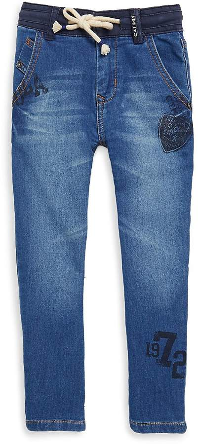 Little Boy's & Boy's Stamped Graphic Jeans