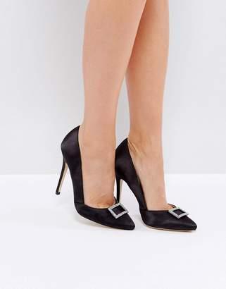 London Rebel Point Satin Heeled Shoe