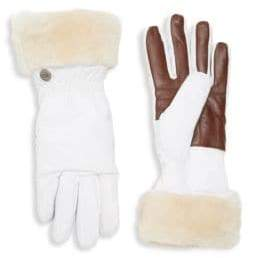 UGG Shearling-Cuffed Leather Palm Gloves