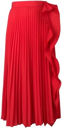 Miu Miu pleated midi skirt with ruffle detail