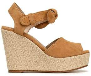 Claudie Pierlot Knotted Suede Platform Wedge Sandals