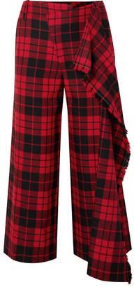 Monse Cropped Tartan Wool Wide-leg Pants - Red