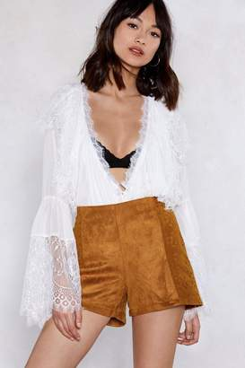 Nasty Gal Come to Your Faux Suede Shorts