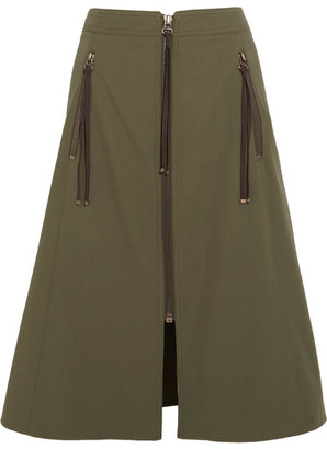KENZO - Cotton-twill Skirt - Army green $625 thestylecure.com