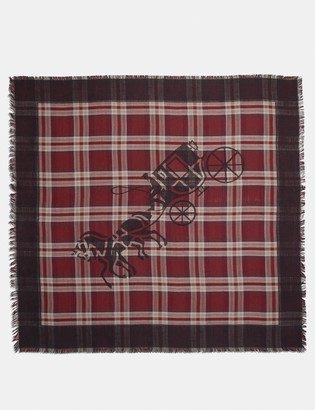Coach Horse And Carriage Plaid Print Oversized Square Scarf