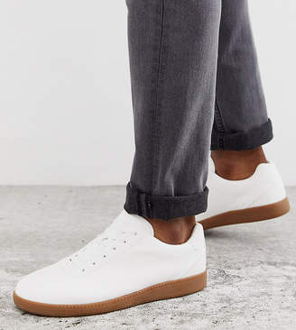 Asos Design DESIGN Wide Fit lace up sneakers in white faux suede with gum sole