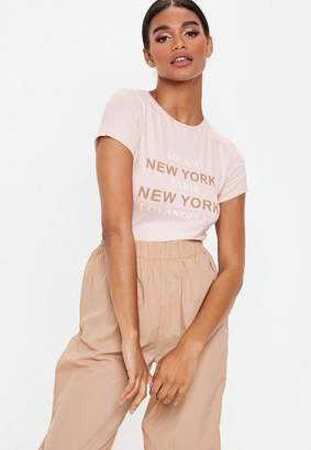Missguided Pink New York City Fitted T Shirt