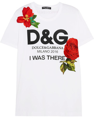 Dolce & Gabbana - Appliquéd Printed Cotton-jersey T-shirt - White $1,395 thestylecure.com