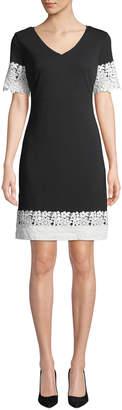 Karl Lagerfeld Paris Crochet-Lace Trimmed V-Neck Dress