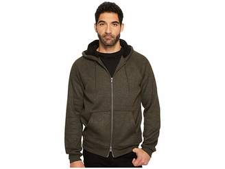 John Varvatos Knit Hoodie with Sherpa Lined Hood and Elbow Patches Men's Sweatshirt