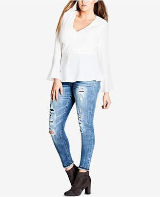 City Chic Trendy Plus Size Button-Up Corset Blouse