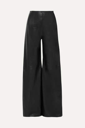16Arlington Marvin Leather Wide-leg Pants - Black