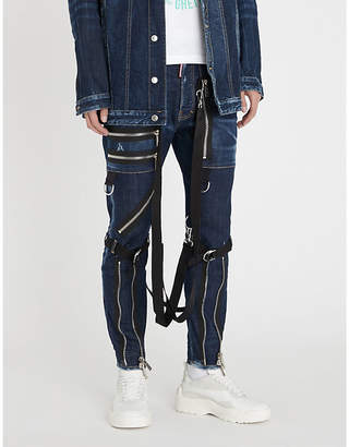 DSQUARED2 Strap and zip-detail slim-fit straight-leg jeans