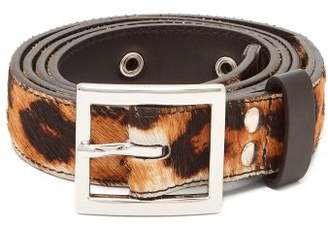 Amiri Leopard Print Calf Hair Belt - Mens - Brown