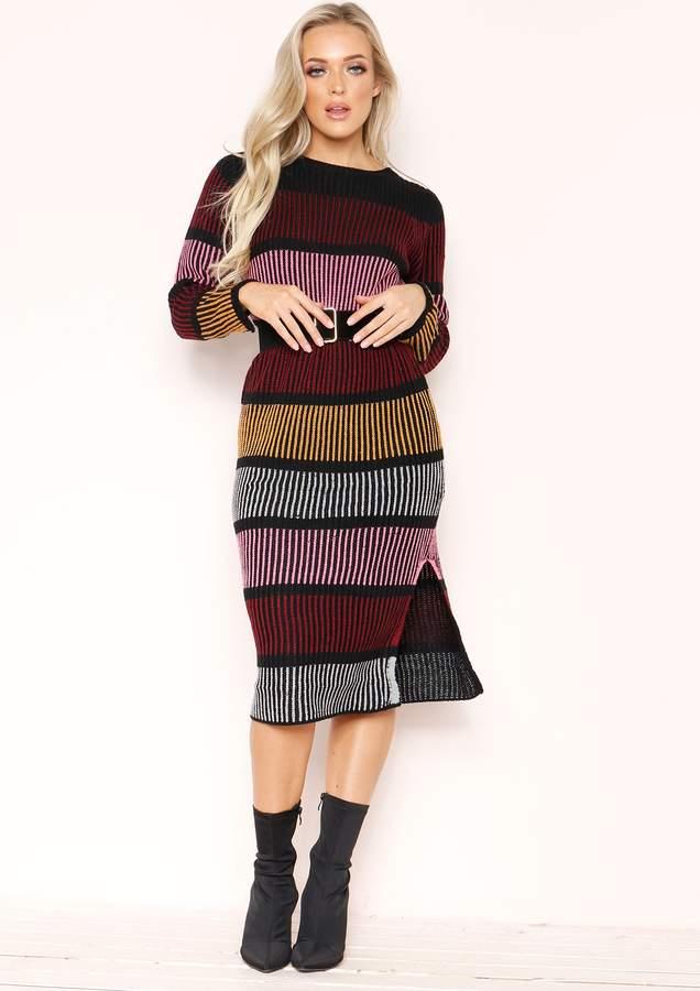 Missyempire Macy Multi Stripe Knit Midi Jumper Dress