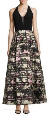 JS Collections Floral Printed Halter Gown