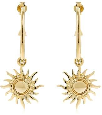 Schield Hoop Earrings W/ Sun Charms
