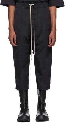 Rick Owens Black Textured Satin Cropped Drawstring Trousers