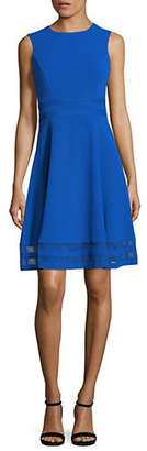 Calvin Klein Mesh Panel Fit-and-Flare Dress
