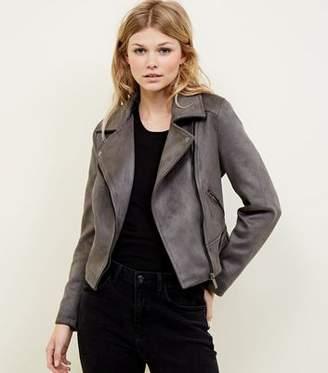 New Look Petite Dark Grey Suedette Biker Jacket