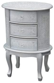 Big Living Chaandhi Kar White-Silver Embossed 3-Drawer Bedside Cabinet