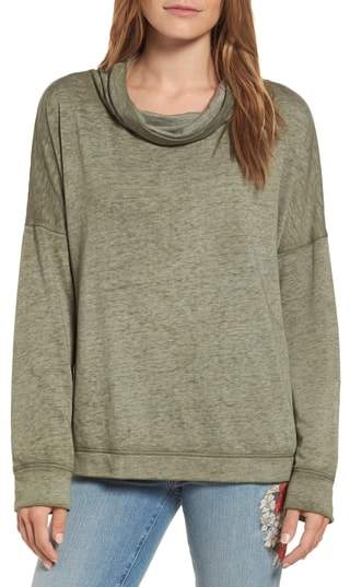Caslon(R) Burnout Back Pleat Sweatshirt