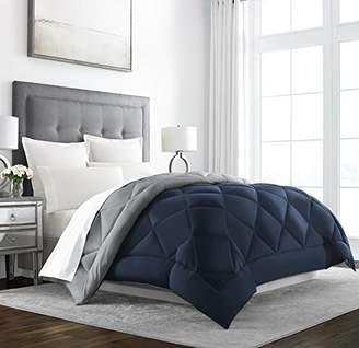 +Hotel by K-bros&Co Sleep Restoration Goose Down Alternative Comforter - Reversible - All Season Hotel Quality Luxury Hypoallergenic Comforter -Full/Queen - Navy/Sleet