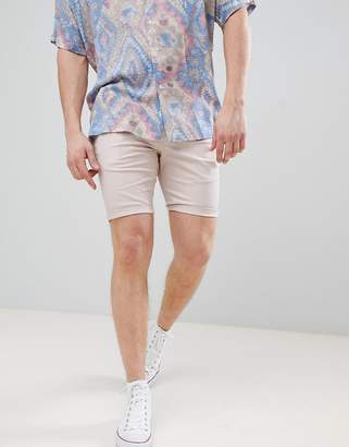 Asos DESIGN super skinny chino shorts in ice pink