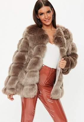Missguided Mink Bubble Faux Fur Coat