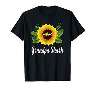Grandpa Shark Sunflower Funny Shark Lover Gift T-shirt