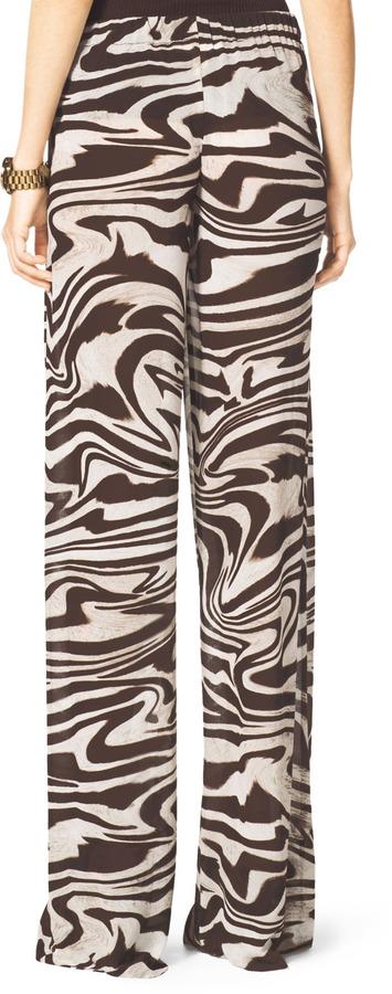 Michael Kors Zebra-Print Wide-Leg Pants